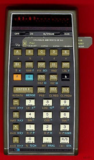 Photograph of an HP-67 calculator